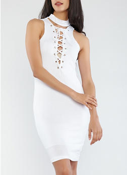 Ribbed Knit Lace Up Dress - WHITE - 0094038348709