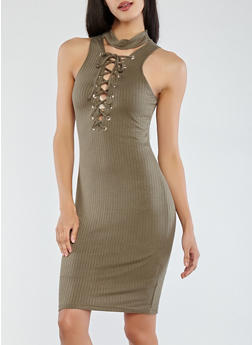 Ribbed Knit Lace Up Dress - 0094038348709