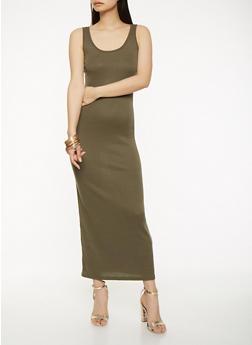 Rib Knit Maxi Tank Dress - 0094038348721