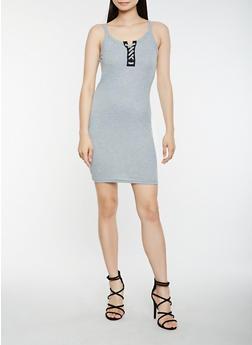 Ribbed Knit Lace Up Tank Dress - 0094038348724