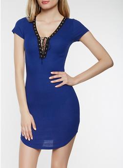 Plunge Lace Up T Shirt Dress - 0094038348725
