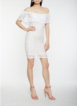 Off the Shoulder Lace Dress - WHITE - 0094038348756