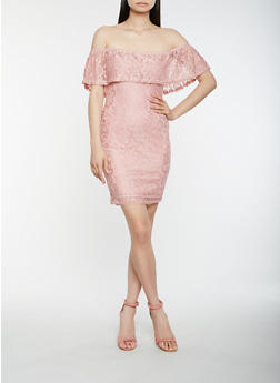 Off the Shoulder Lace Dress - 0094038348756