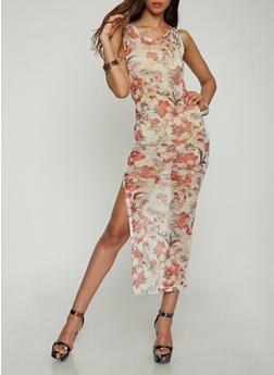 Floral Mesh Maxi Dress - 0094038348761
