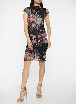 Floral Mesh Bodycon Dress - 0094038348767