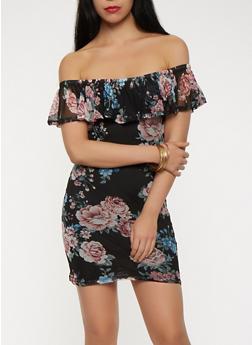Floral Mesh Off the Shoulder Dress - 0094038348769