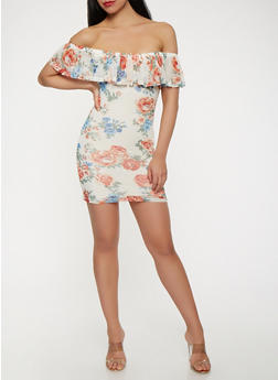 Floral Mesh Off the Shoulder Dress - 0094038348769