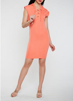 Lace Up Hooded Tank Dress - 0094038348798