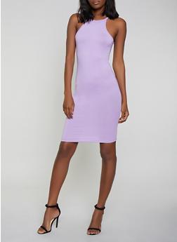 Solid High Neck Tank Dress - 0094038348811
