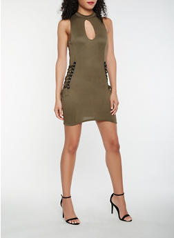 Lace Up Mock Neck Bodycon Dress - 0094038348812