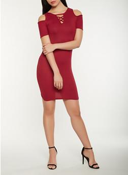 Lace Up Cold Shoulder Dress - 0094038348818