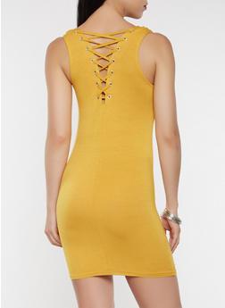 Lace Up Back Tank Dress - 0094038348846