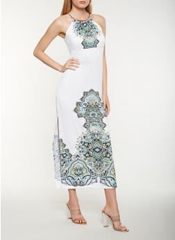 Printed Metallic Neck Tank Maxi Dress - 0094038348894