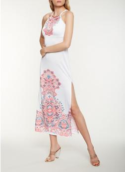 Printed Metallic Neck Tank Maxi Dress - 0094038348894