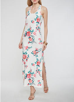 Floral Soft Knit Maxi Tank Dress - 0094038348903
