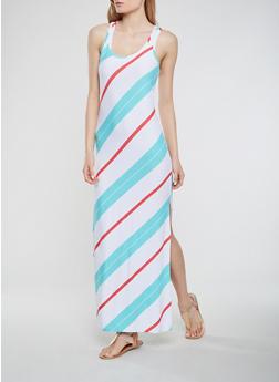Striped Maxi Racerback Tank Dress - 0094038348907