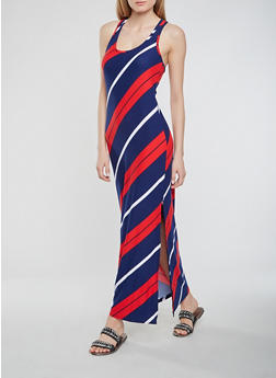Striped Maxi Racerback Tank Dress - 0094038348907