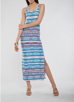 Printed Soft Knit Maxi Tank Dress - 0094038348908