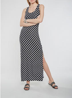 Striped Soft Knit Tank Dress - 0094038348911