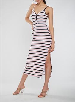 Striped Midi Tank Dress - 0094038348925