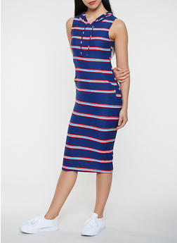 Striped Hooded Tank Midi Dress - 0094038348932