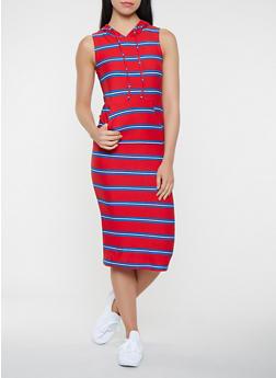Striped Hooded Tank Midi Dress - 0094038348932