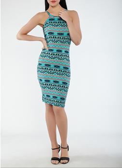 Soft Knit Aztec Print Tank Dress - 0094038348951