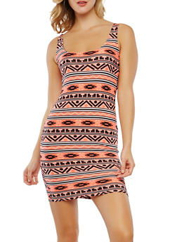 Printed Soft Knit Tank Dress - 0094038348956