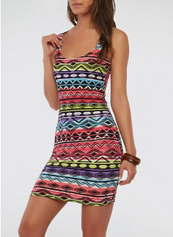 Soft Knit Printed Bodycon Dress - 0094038348959