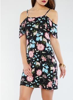 Soft Knit Floral Off the Shoulder Dress - 0094038348973