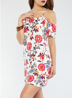 Soft Knit Floral Off the Shoulder Dress - 0094038348973