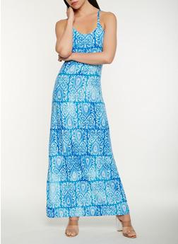 Printed Soft Knit Tank Maxi Dress - 0094038348979