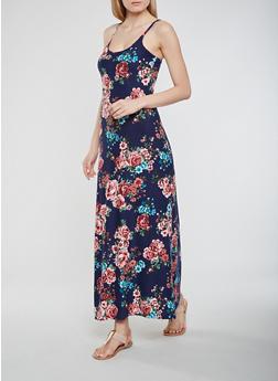 Floral Soft Knit Maxi Tank Dress - 0094038348980