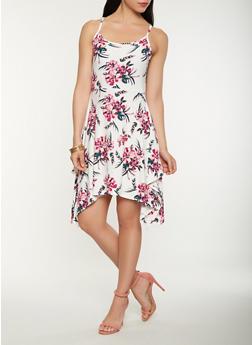 Floral Print Tank Dress - 0094038348989
