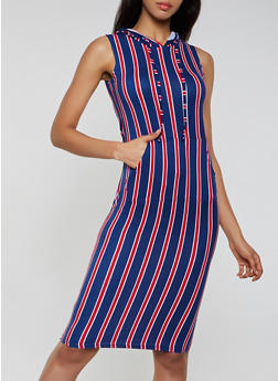 Striped Sleeveless Hooded Tank Dress - 0094038349052