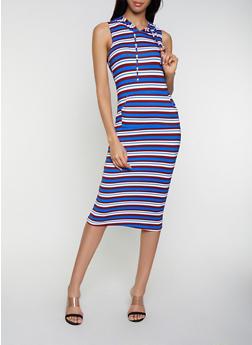 Hooded Striped Soft Knit Tank Dress - 0094038349053