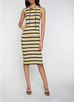 Hooded Striped Soft Knit Tank Dress - 0094038349053