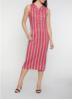 Striped Soft Knit  Hooded Dress - 0094038349054