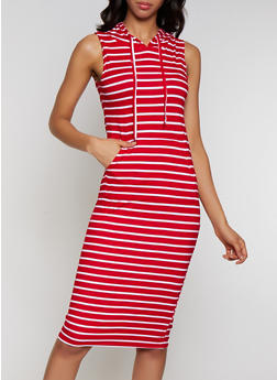 Hooded Striped Tank Dress - 0094038349055