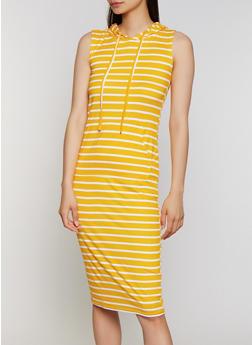 Hooded Striped Tank Dress - 0094038349055