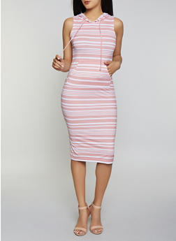 Striped Hooded Tank Midi Dress - 0094038349056