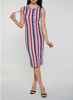 Striped Hooded Sleeveless Tank Dress - 0094038349058