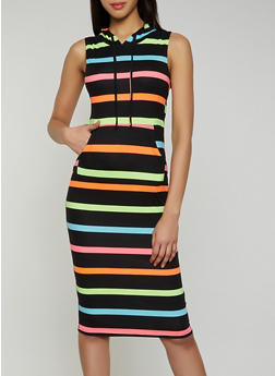 Hooded Striped Midi Dress - 0094038349059