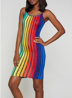 Multi Color Striped Bodycon Cami Dress - 0094038349070