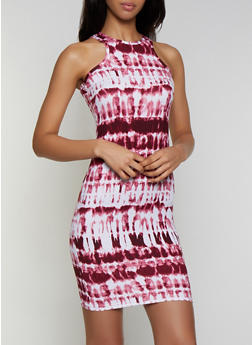 Soft Knit Tie Dye Tank Dress - 0094038349073