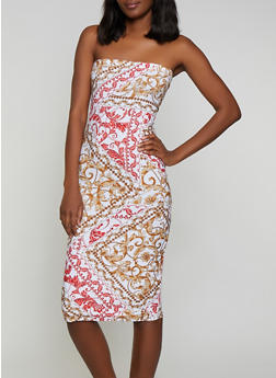 Printed Soft Knit Midi Tube Dress - 0094038349075