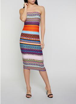 Tribal Print Tube Dress - 0094038349079