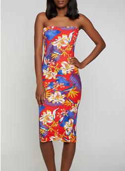Tropical Floral Tube Dress - 0094038349081