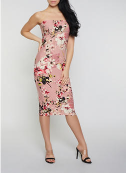 Floral Soft Knit Tube Midi Dress - 0094038349082