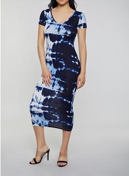Tie Dye Slashed Back T Shirt Dress - 0094038349095
